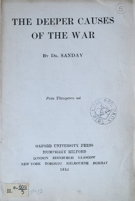 Sanday's The deeper causes of war - cover