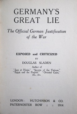 Germany's great lie - title page