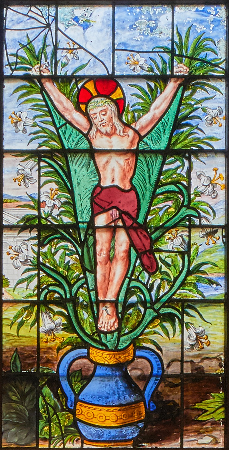 The image of Christ crucified on a lily is taken from one of the Chapel windows. The lily is associated with Mary and with the Feast of the Annunciation (also known as Lady Day) on 25 March.