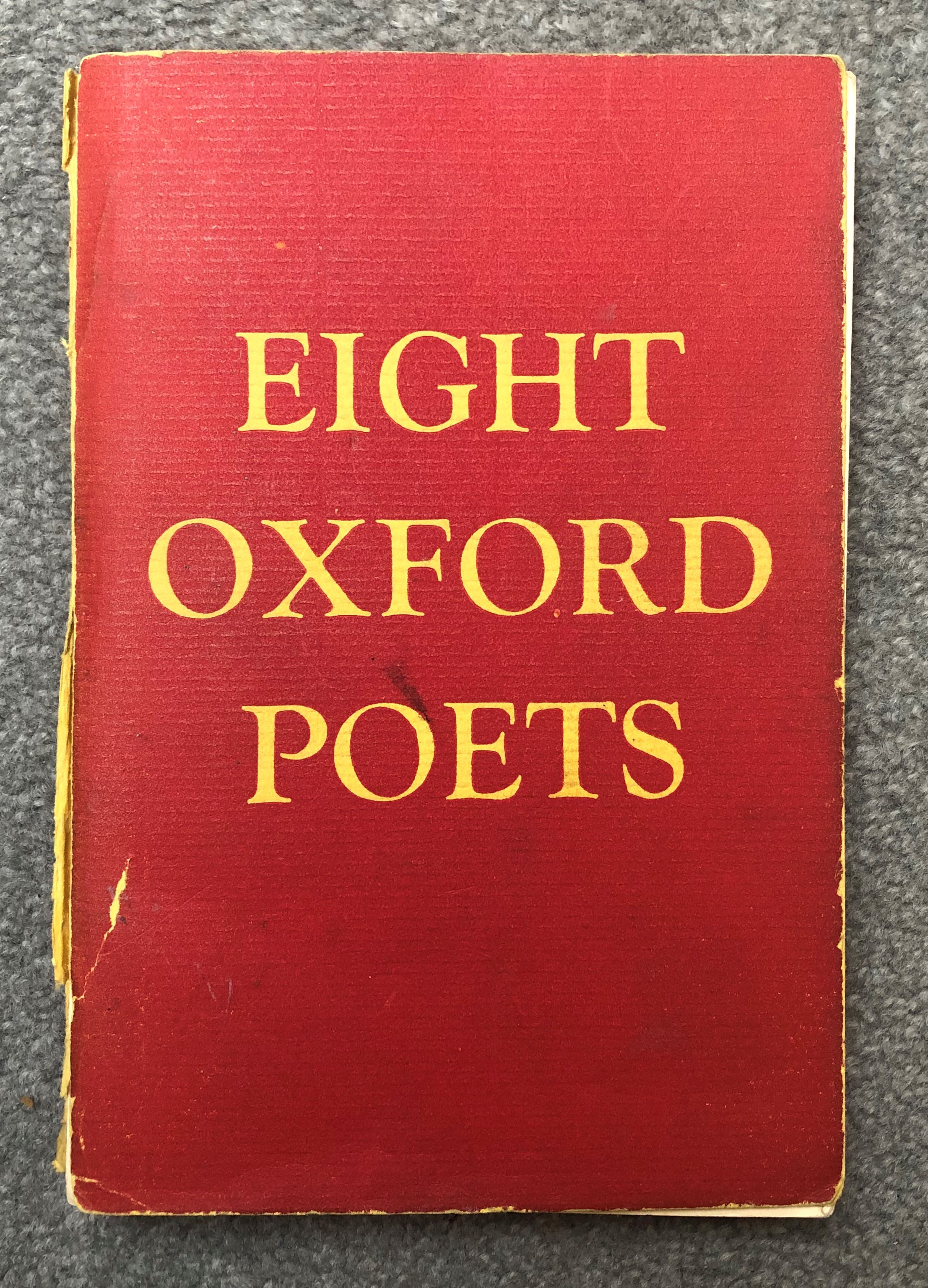 image shows the cover of a book titled eight oxford poets, the cover of the book is red and the title is printed in large yellow font
