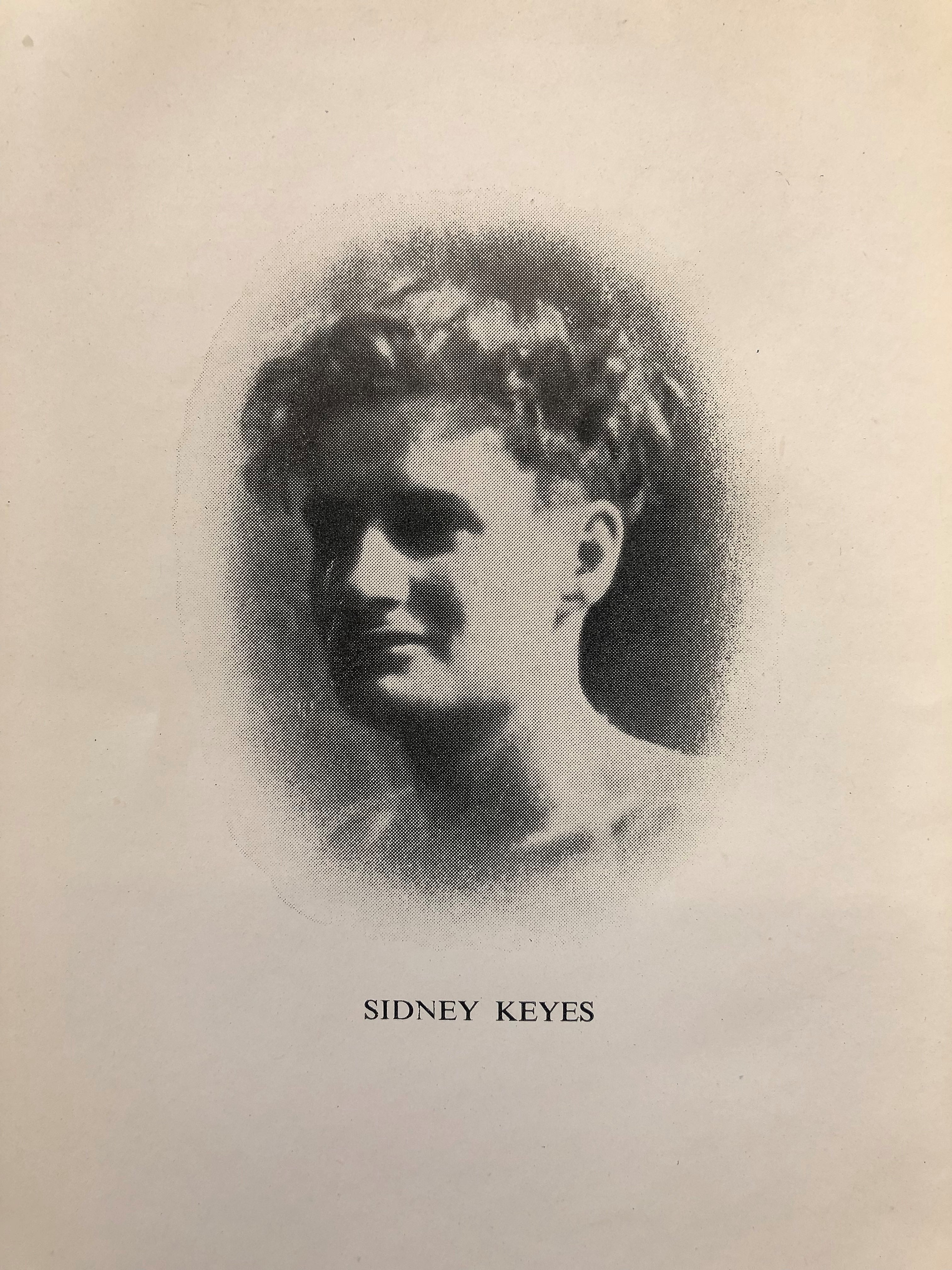 image shows a black and white photograph of the poet Sidney Keyes