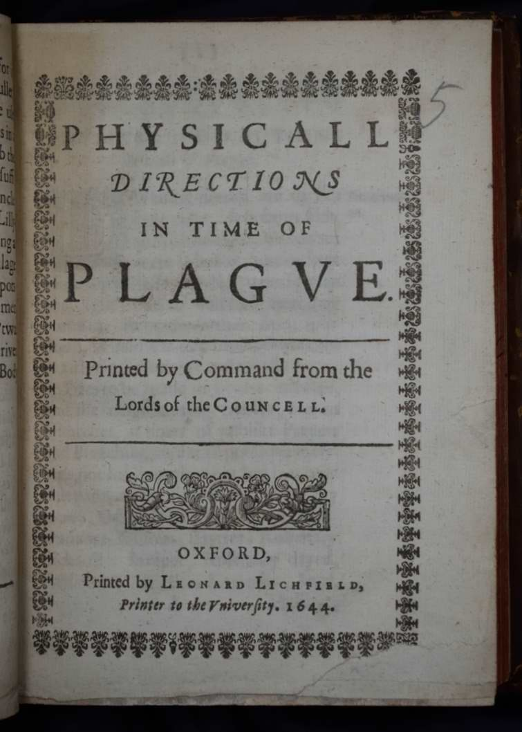 image shows a page of a book with the title physical directions in times of plague