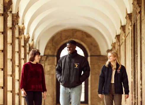 students in the cloister