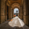 Looking through into Front Quad and the cupola from the passage outside the Chapel