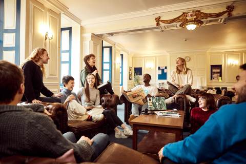 The Junior Common Room with current students