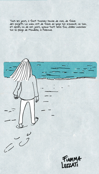 A comic panel drawn by Fiamma Luzzati of a figure walking along a beach towards the sea. The French caption talks about the importance of finding something to do each day that makes you smile.