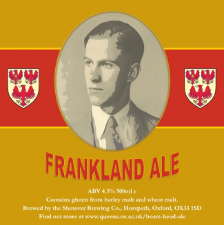 The label used for bottles of Frankland Ale, with a photo of Bill Frankland from when he matriculated
