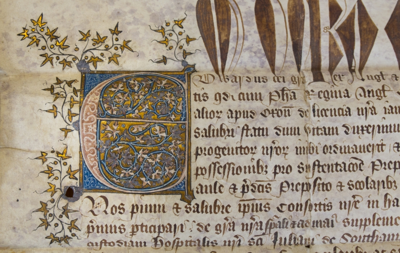 initial letter of a charter of Edward III