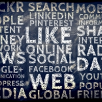 social media terms on a blackboard