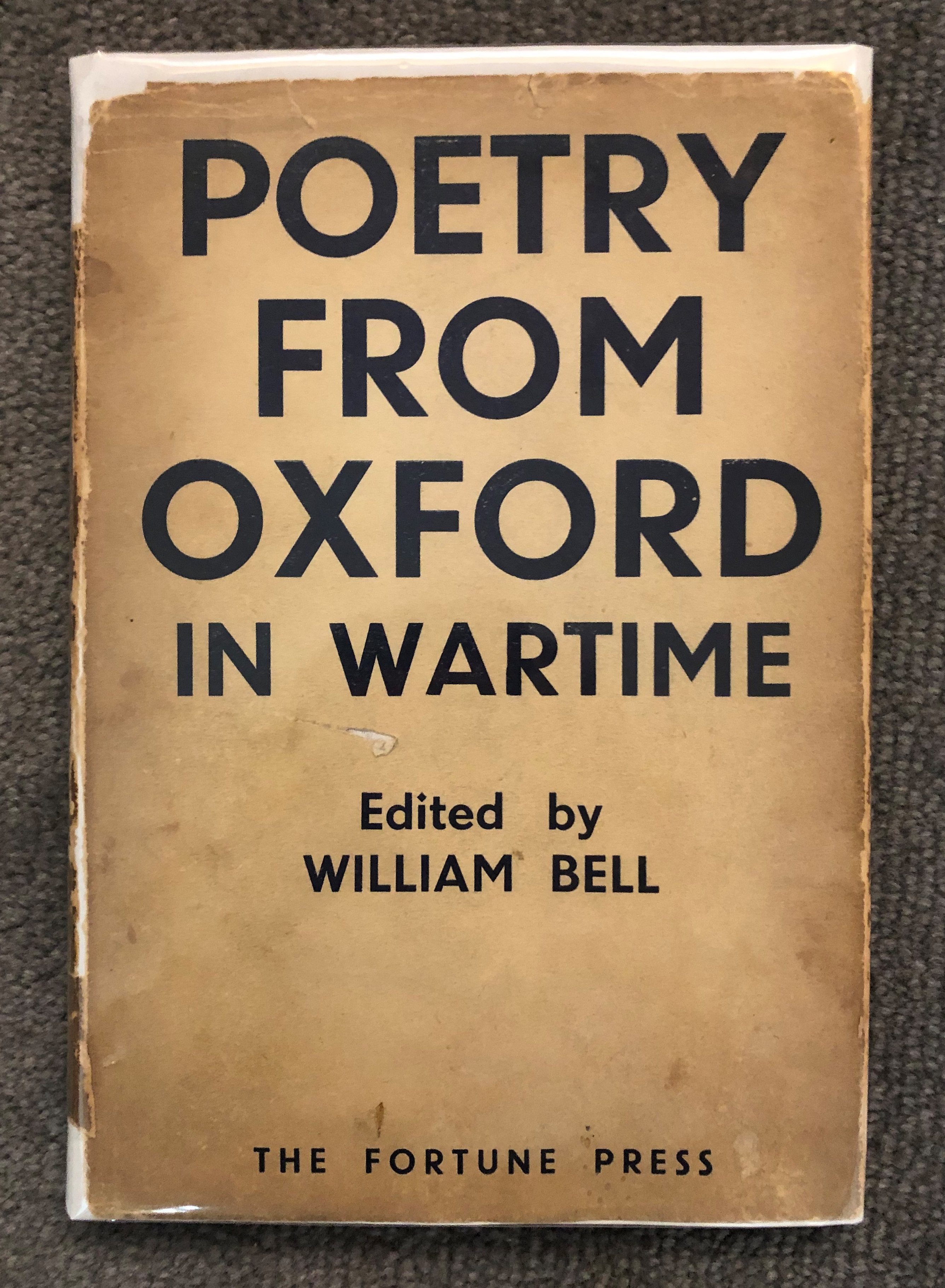 image shows a book cover with the title Poetry from oxford in Wartime printed in large black font